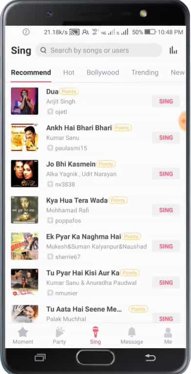 select a song for starmaker apk